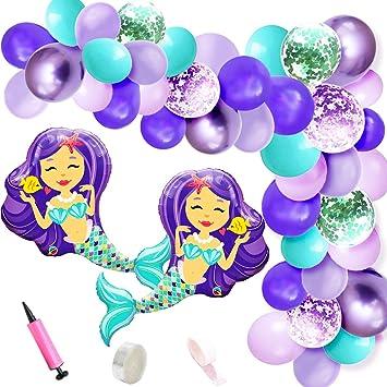 Kreatwow Mermaid Balloon Garland Arch Kit Mermaid Foil ...