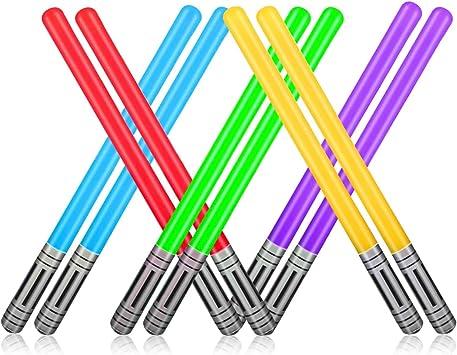 Yojoloin 10 UNIDS Inflables Star War Light Saber Sword Stick Globos para Suministros de Fiesta Favores de Fiesta Globos 5 Color (10 PCS)