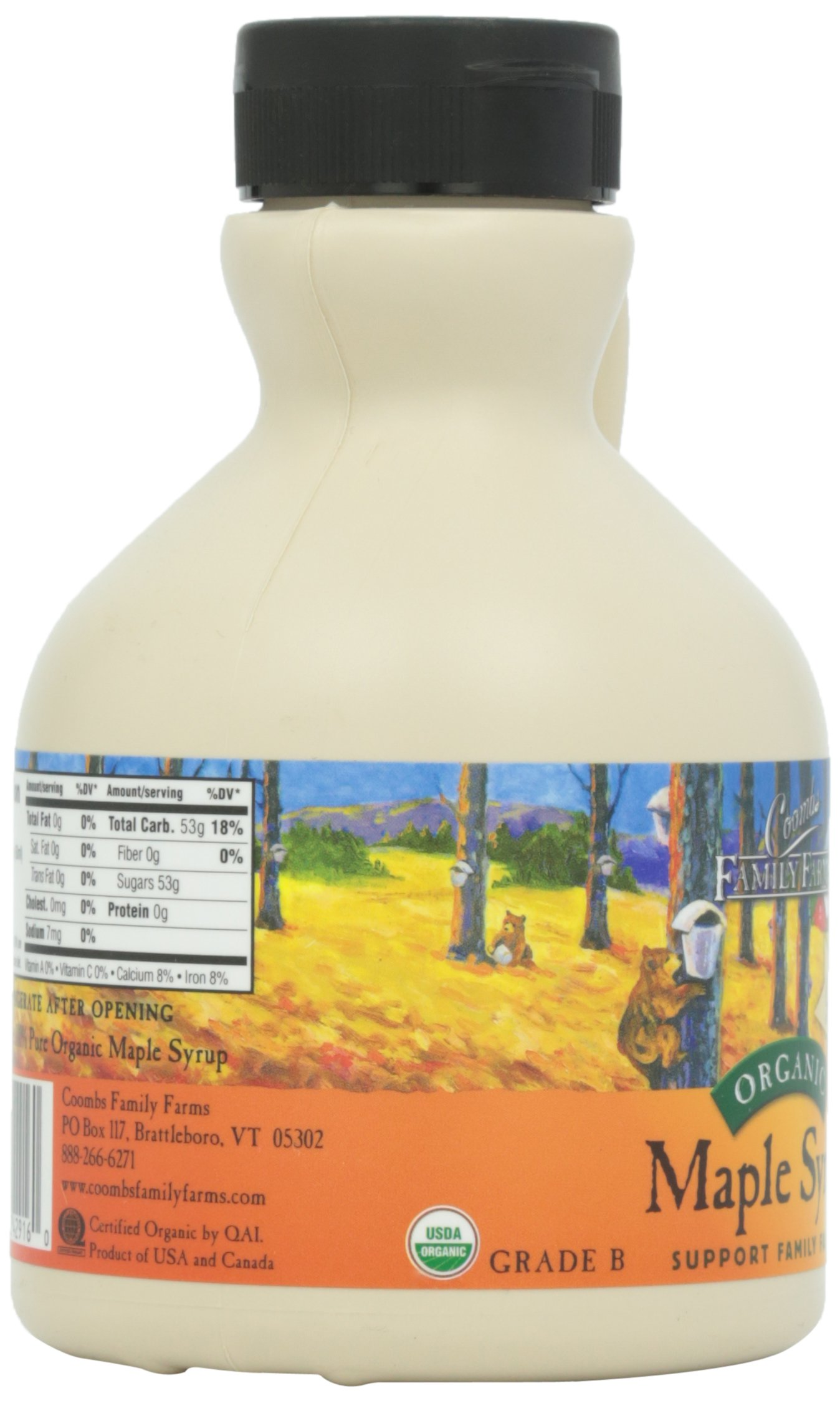 Coombs Family Farms 100 % Pure Organic Maple Syrup Grade A Amber Rich, 16 Ounce Jug