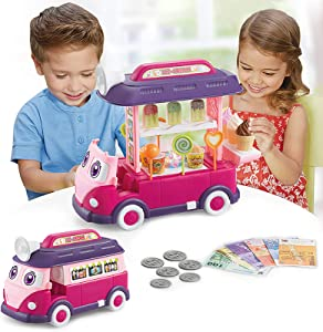 CooElc EylbKey Ice Cream Truck, Pretend Play Food Truck Set with Light and Sounds for Kids, Girls & Boys - Pink Red