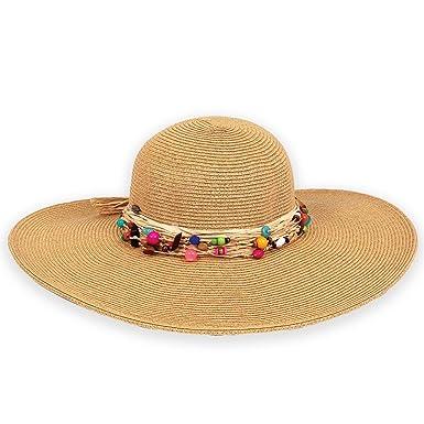 c1baba1e66e Sun N  Sand Sun Paperbraid Hat Ocean Gems with Multi Beaded Trim Natural