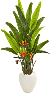 Nearly Natural 59in. Bird of Paradise Artificial White Planter Silk Plants, Green
