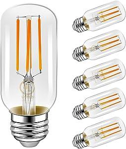 LED Light Bulbs, Emotionlite E26 Dimmable Vintage Edison Tubular Bulb, 40W Equivalent, Warm White, 4W 2700K, 350LM, Medium Base, UL Listed, 6 Pack