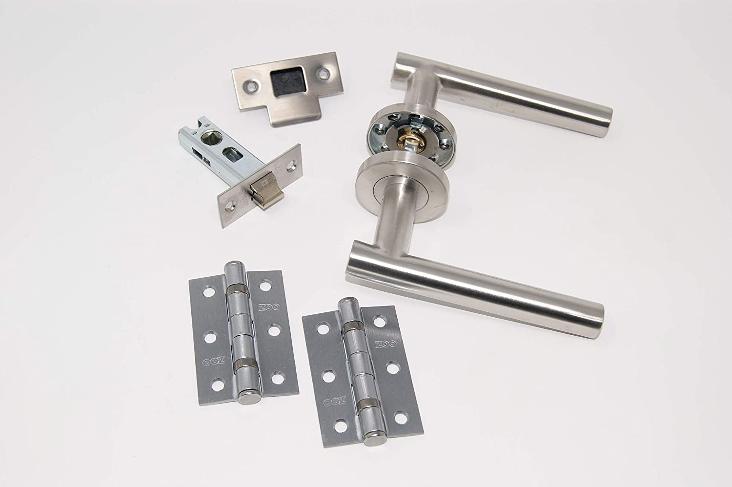 D Shaped Lever Door Handles on Rectangular Lock Plate Satin Stainless