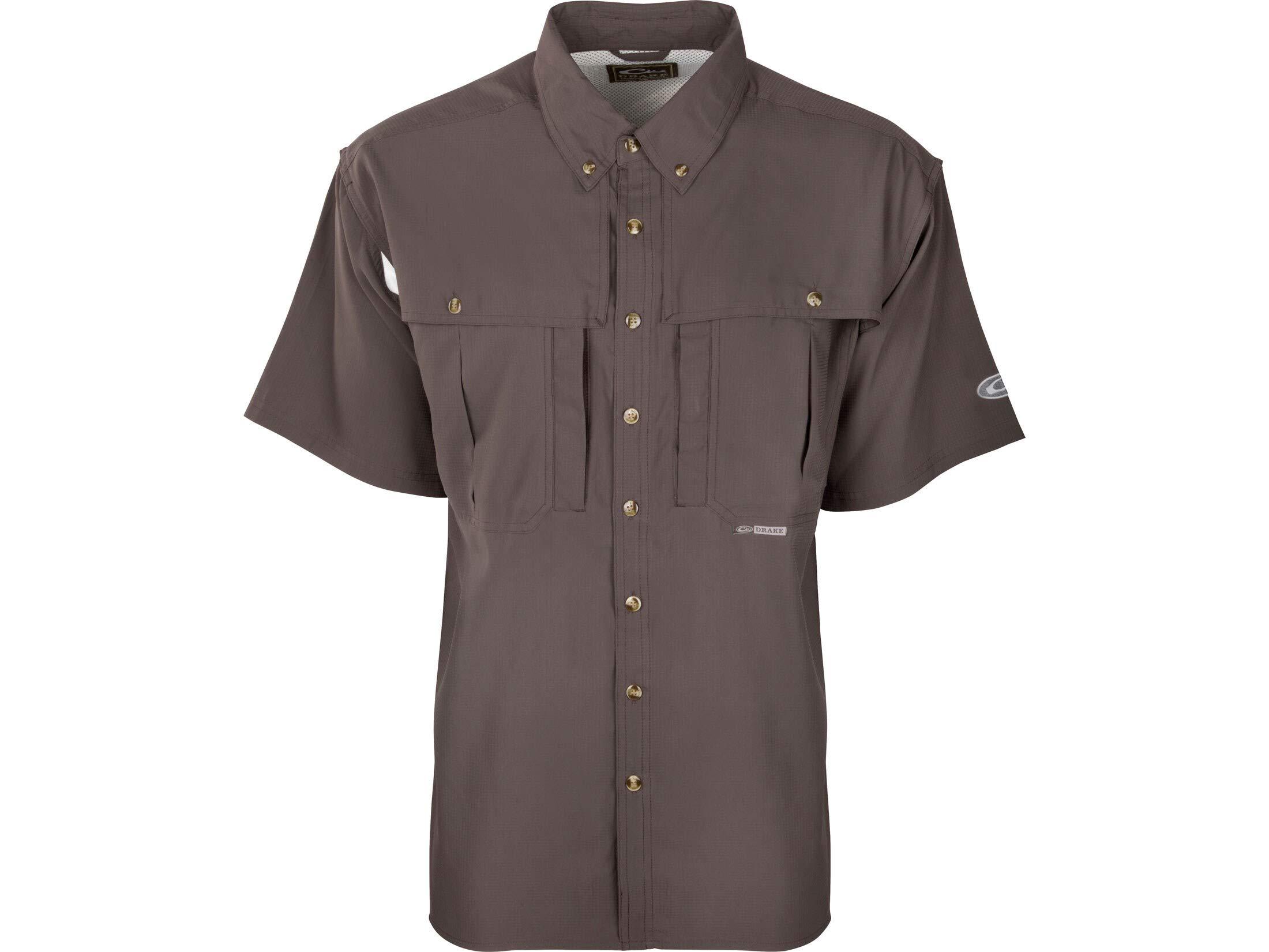 Drake Men's Flyweight Wingshooter's Shirt Short Sleeve Polyester Gray Medium by Drake