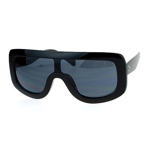 fe2a7dfdbb46 SA106 Futuristic Robotic Thick Plastic Shield Runway Sunglasses All Black