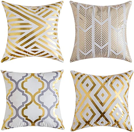 Gspirit 4 Pack Cojines Sofas Estampado de Oro Suave Decoracion Funda Cojines 45x45: Amazon.es: Hogar