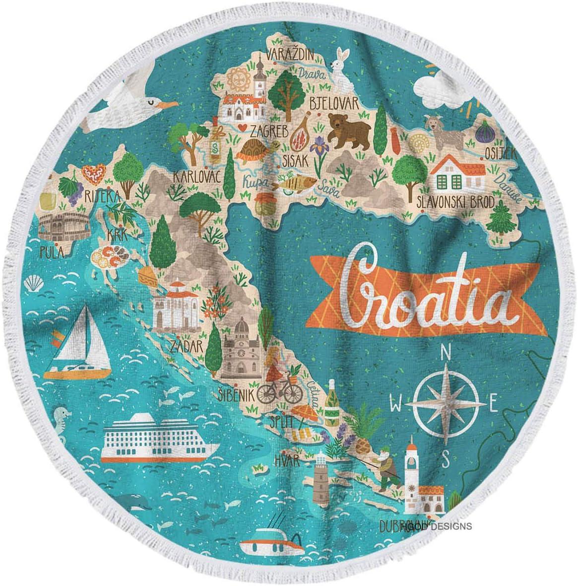 HGOD DESIGNS Beach Towel Map,Croatia Map Travel with Croatian Landmarks People Food and Plants Round Beach Towel Throw Blanket Towel Yoga Mat 63 Inch(160 cm) Diameter Include Tassels
