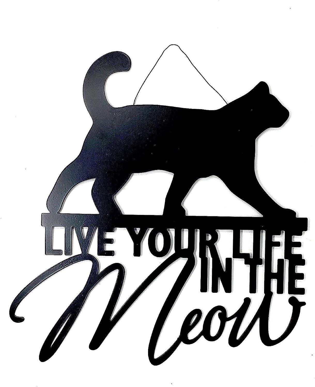 """Cat Decor Sign Metal Cutout Plaque Door Wall Room House Decoration Black Matte Indoor Outdoor (12""""x13"""")"""