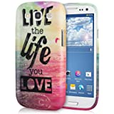 kwmobile Hülle für Samsung Galaxy S3 i9300 / S3 Neo i9301 - TPU Silikon Backcover Case Handy Schutzhülle - Cover Live the Life Design Mehrfarbig Pink Blau