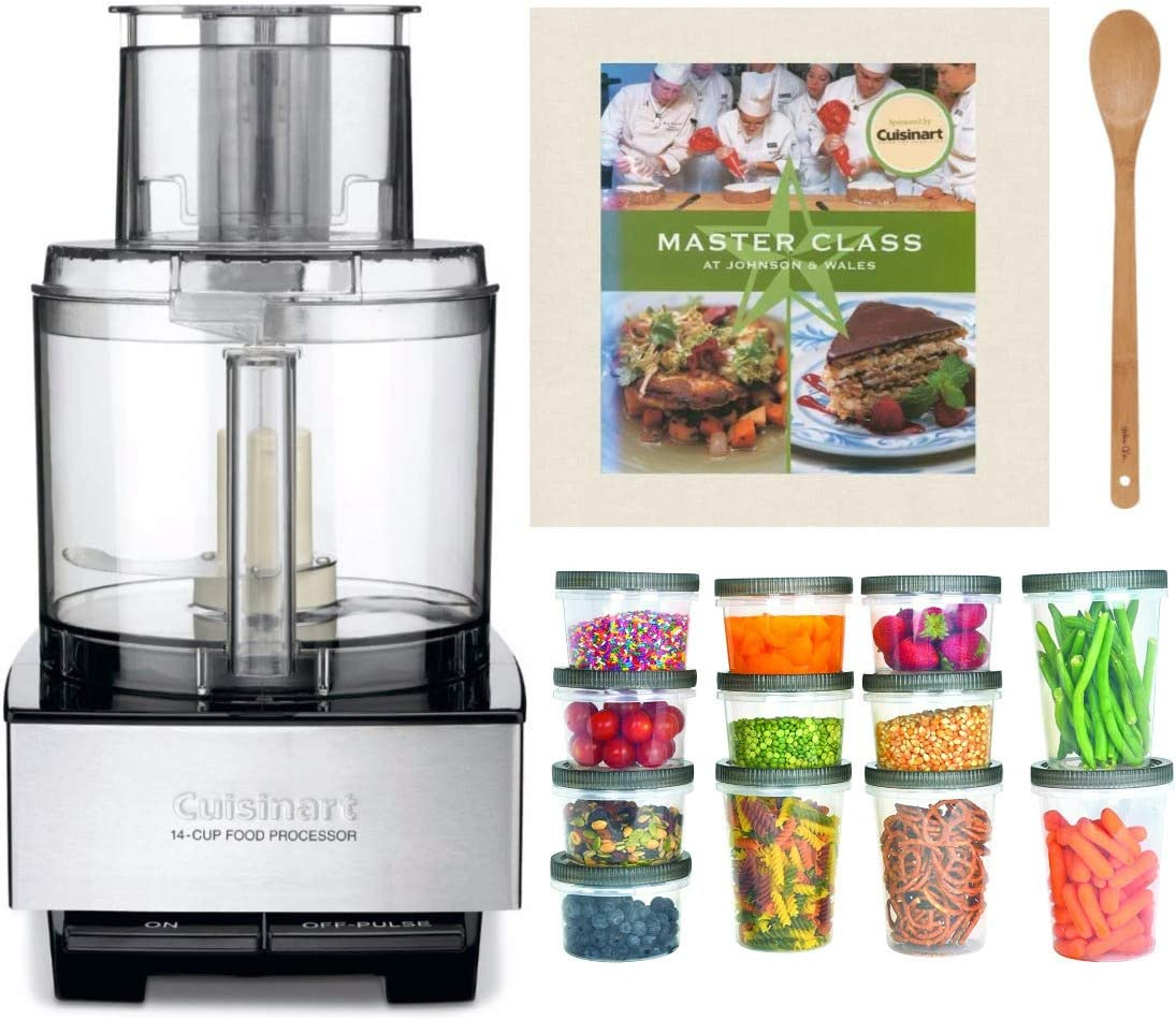 Cuisinart DFP-14BCNY 14-Cup Food Processor (Brushed Stainless) Bundle with Bamboo Spoon, Cookbook & Plastic Storage Containers (4 Items)