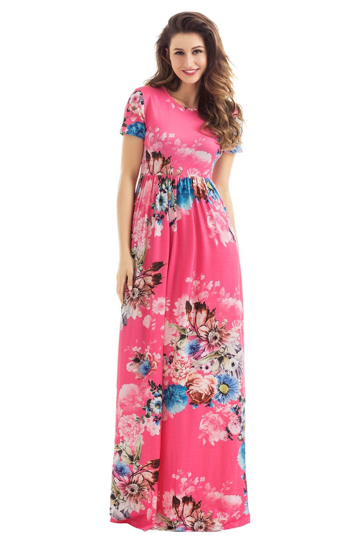 cdeaa8e26f HOTAPEI Women's Floral Print Long Dress Short Sleeve Empire Flower Maxi  Dresses Red Medium: Amazon.com.au: Kitchen