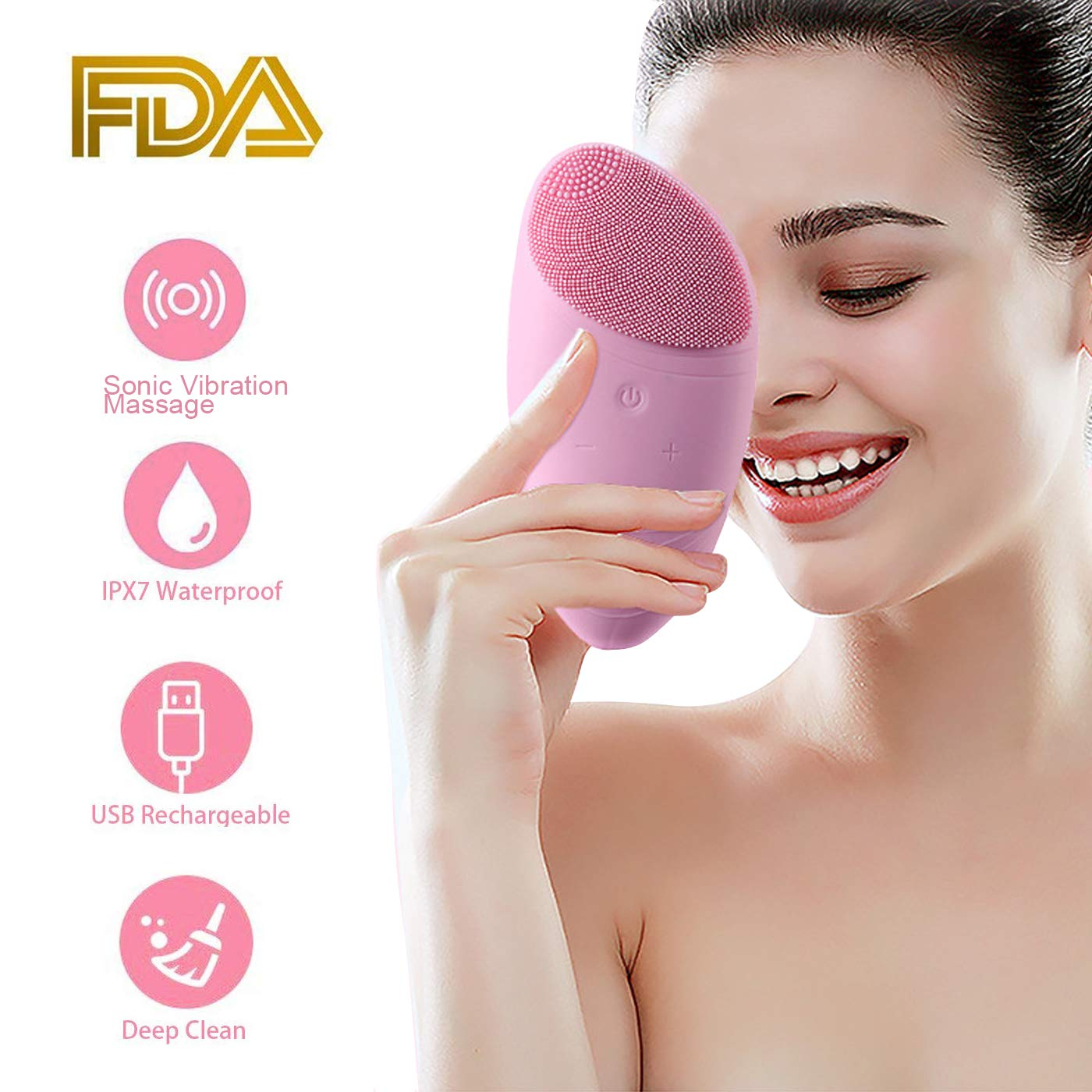 OPPSARE Deep Facial Cleansing Brush Rechargeable Waterproof - Gentle Sonic Face Cleaner - Anti-Aging Skin Care Face Massager - Exfoliating Pore Minimizer to Smooth Skin Help Reduce Blackheads Acne Dar CoCo100