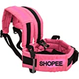 SHOPEE Branded Two Wheeler Safety SEAT Belt - Scooter/Bike/Car/Double Buckles/Adjustable/Front Standing/Seated Behind (Black Color)