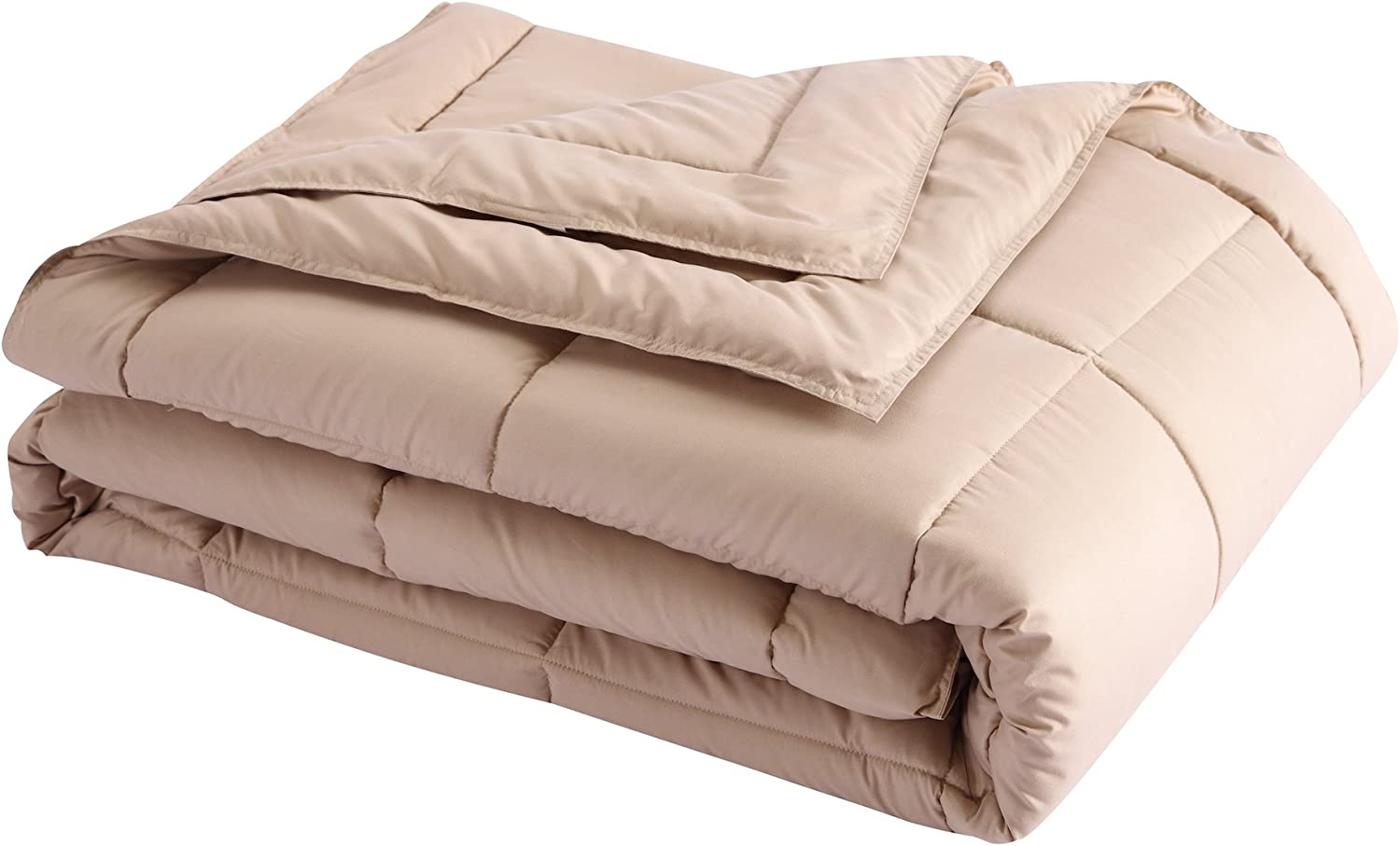 Lotus Home Down Alternative Blanket With Microfiber Cover and Water and Stain Resistance, Full/Queen, Taupe