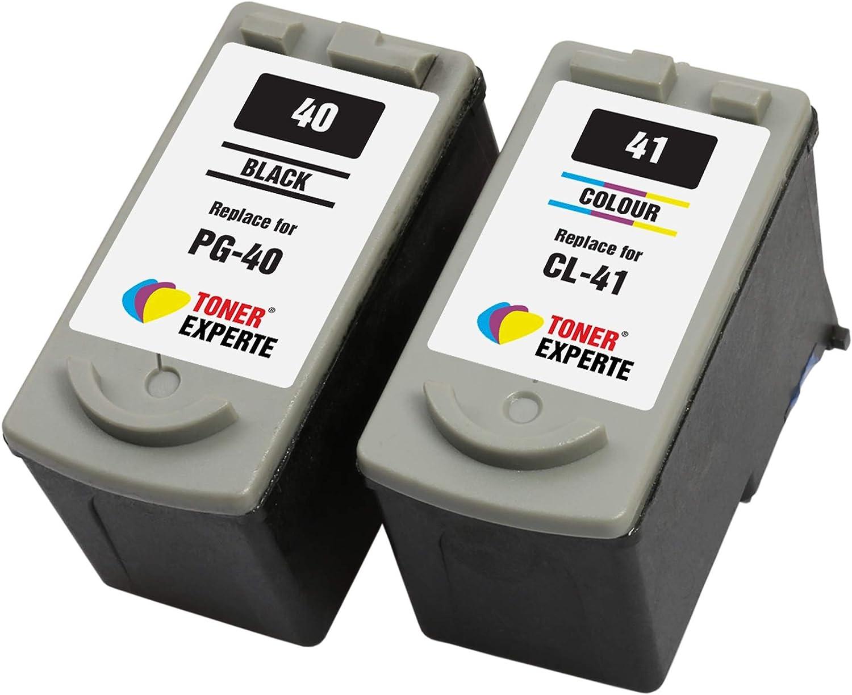 PG40 PG-40 CL41 CL-41 TONER EXPERTE® 2 XL Cartuchos de Tinta compatibles para Canon Pixma iP2600 MP140 MP460 iP1800 iP1900 iP2500 MP190 MP210 MP220 MP170 MP180 MP160 MP470 MX300 MX310 | Alta