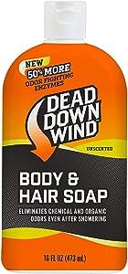 Dead Down Wind Body & Hair Soap | 16 oz Bottle | Unscented | Odor Eliminator, Hunting Accessories | Gentle Body Wash & Shampoo for Hunting | Safe for Sensitive Skin