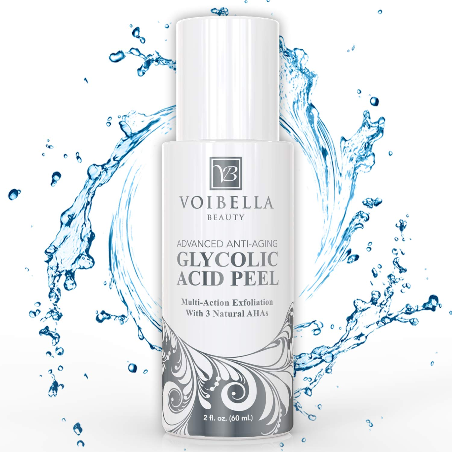 Glycolic Acid Peel & Facial Exfoliator with Lactic Acid and Pyruvic Fruit Acid (AHA) - Anti-Aging Chemical Peel & Cleanser Mask for Face & Skin Resurfacing, Wrinkles, Brightening & Acne Scar Treatment by Voibella Beauty