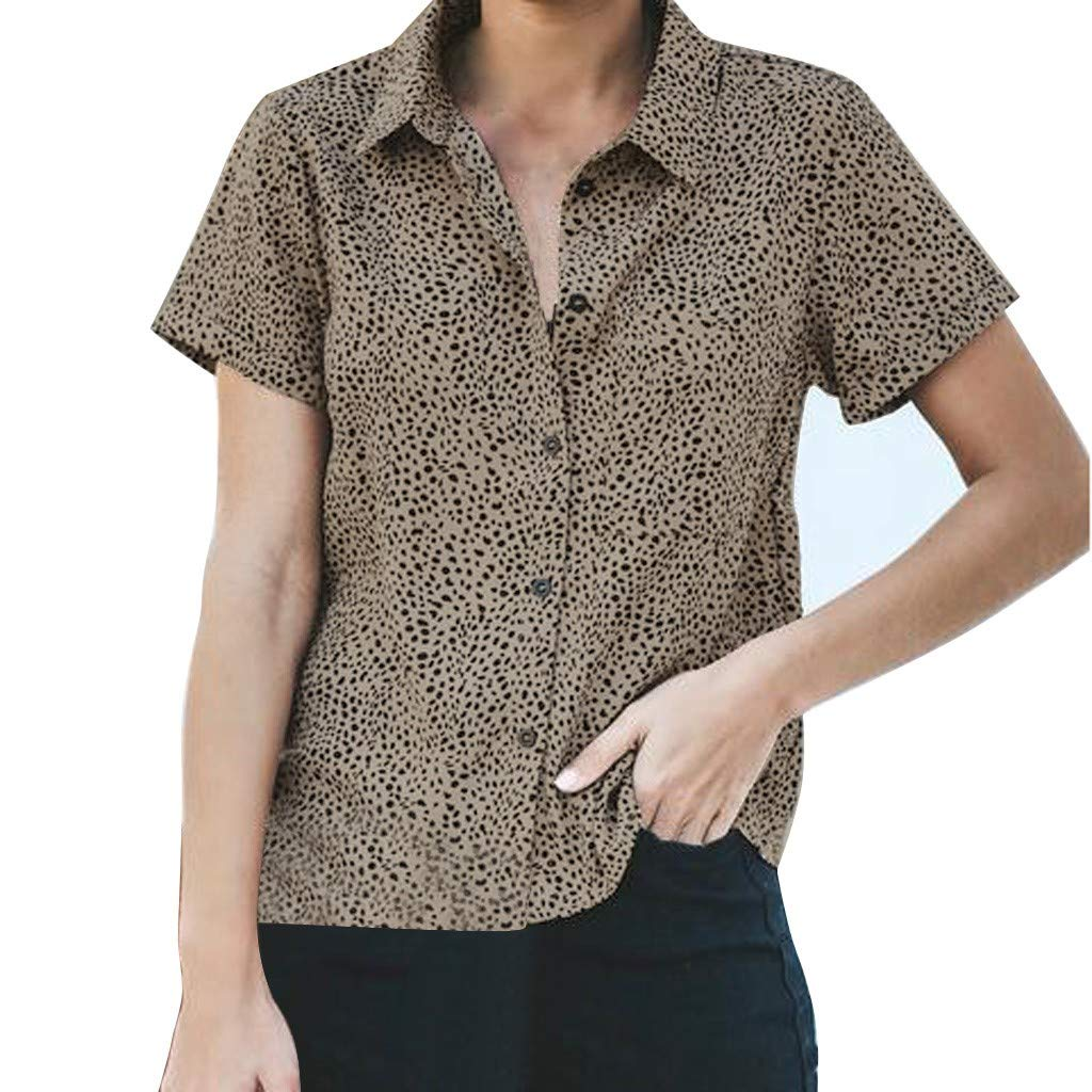 AMhomely Womens Shirts Short Sleeves Leopard Print Button Casual Blouse Tops T-Shirt Tunic Tops Shirts Summer Tops UK Size