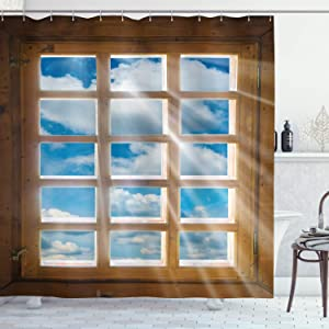 """Ambesonne Rustic Shower Curtain, Wooden Window with Beaming Sun Scenic View of Sky and Cloudscape Print, Cloth Fabric Bathroom Decor Set with Hooks, 84"""" Long Extra, Pale Brown Blue White"""