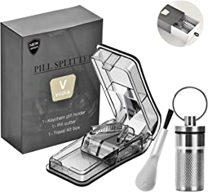 Pill Cutter for Small or Large Pills&Tablet Vitamins Design in The USA. Doubles as a Pill Box. Safety Shield Pill Cutter.