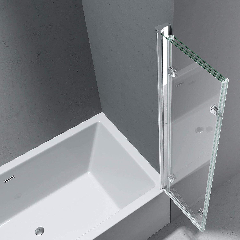 Nano-Versiegelung BTH: 70x120x140cm 6mm ESG-Glas in Klarglas inkl Badewannenfaltwand Cortona113 Wandanschlag rechts