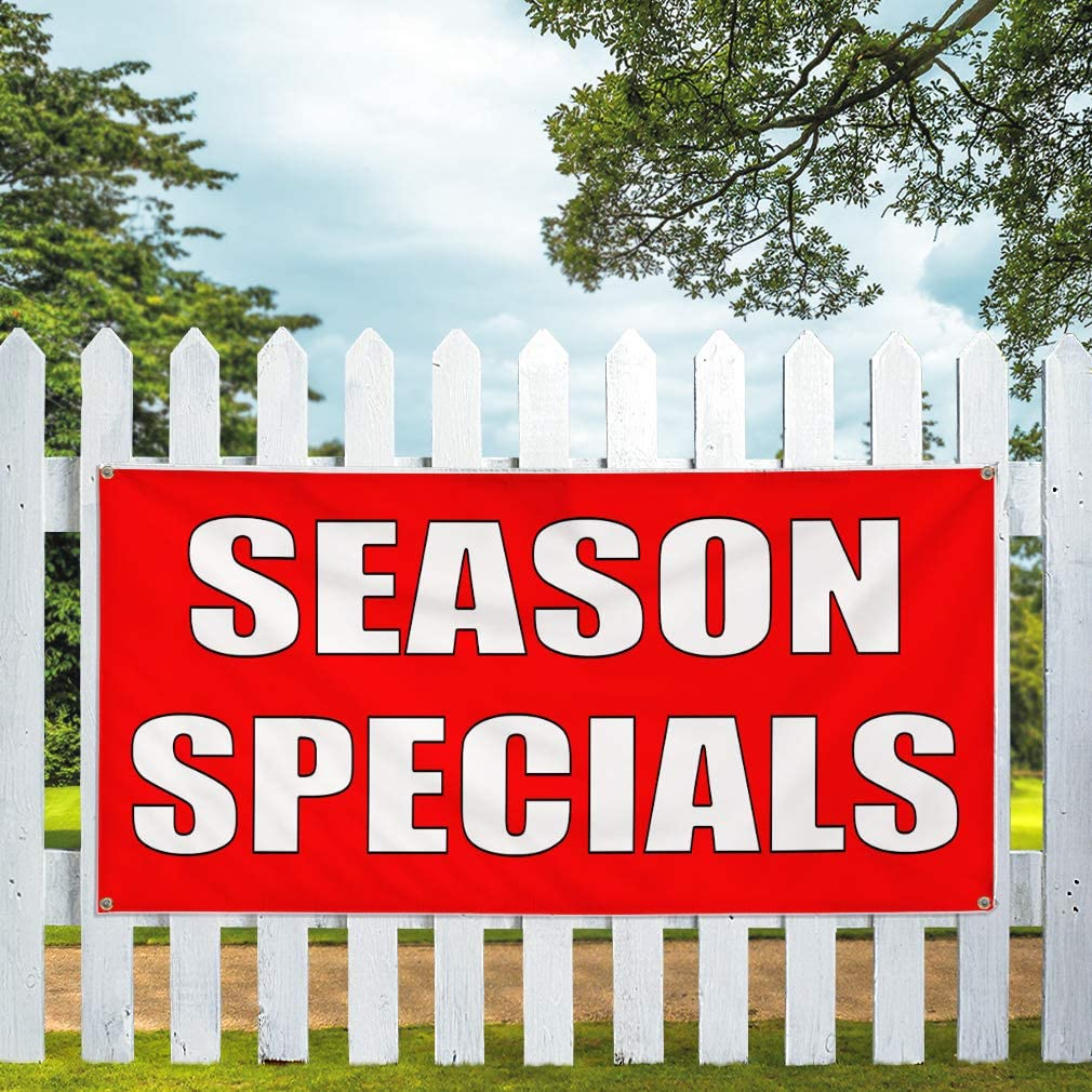 48inx96in 8 Grommets Multiple Sizes Available Vinyl Banner Sign Season Specials red White Seasons Outdoor Marketing Advertising Red One Banner