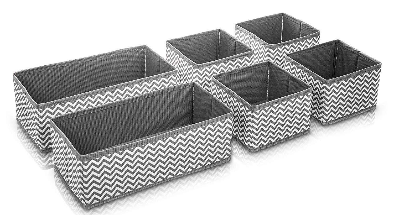 SMART STORAGE DRAWER ORGANISER ADEPTNA STRONG SET OF 6 CANVAS STORAGE BASKETS BOXES SOCKS TIES WARDROBE ORGANISER