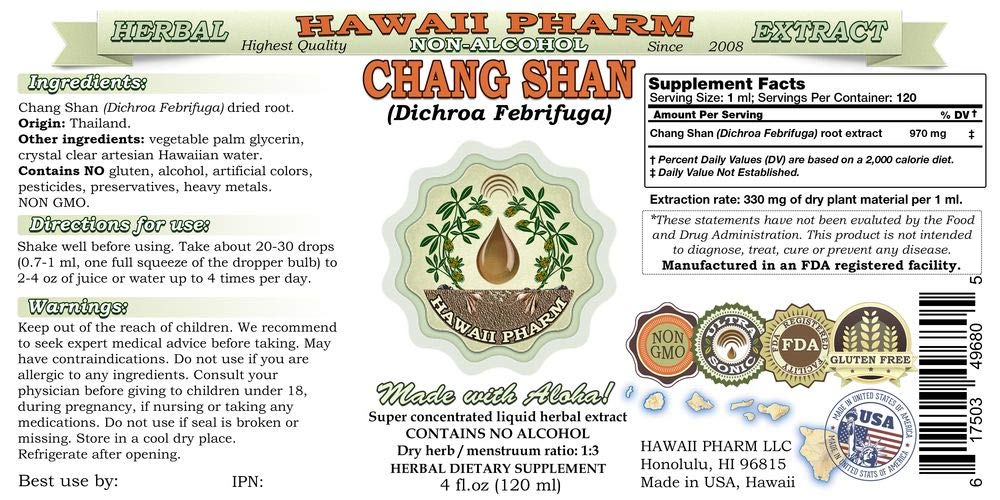 Chang Shan, Chang Shan (Dichroa Febrifuga) Tincture, Dried Root Liquid Extract, Chang Shan, Glycerite Herbal Supplement 4x4 oz by Hawaii Pharm LLC (Image #2)
