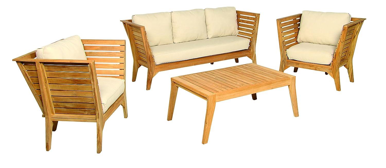 acamp Gartensitzgruppe Loungegruppe 4-teilig 57618 Modell aurora geöltes FSC Teak Holz