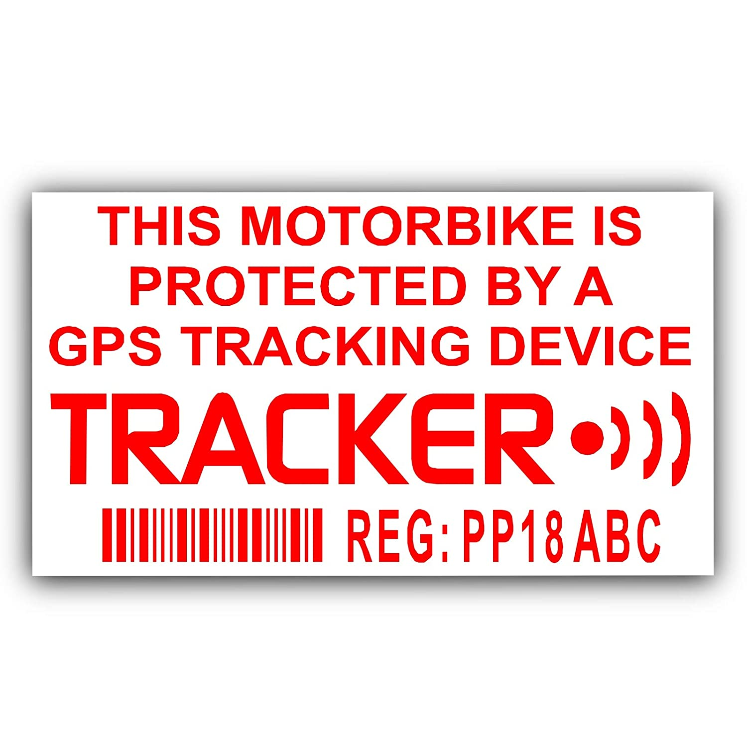 4 x Motorbike Dummy/Fake GPS Personalised Tracker Device Unit Security Alarm System Warning Window Stickers with Registration, Tag Number Printed-Police Monitored Sign For Motorcycle Bike Platinum Place PPGPSMB