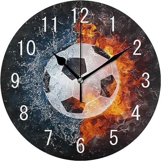 Use7 - Reloj de Pared de acrílico, diseño de balón de fútbol ...