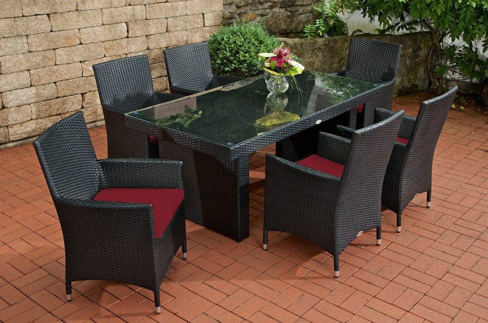 gartenm bel set sitzgarnitur avignon rubin rot schwarz polyrattan aluminium gestell. Black Bedroom Furniture Sets. Home Design Ideas
