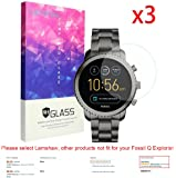 Lamshaw cdy-273 for Fossil Q Explorist Screen Protector 9H Tempered Glass Screen Protector for Gen 3 Smartwatch - Q EXPLORIST Smoke (3 Pack)