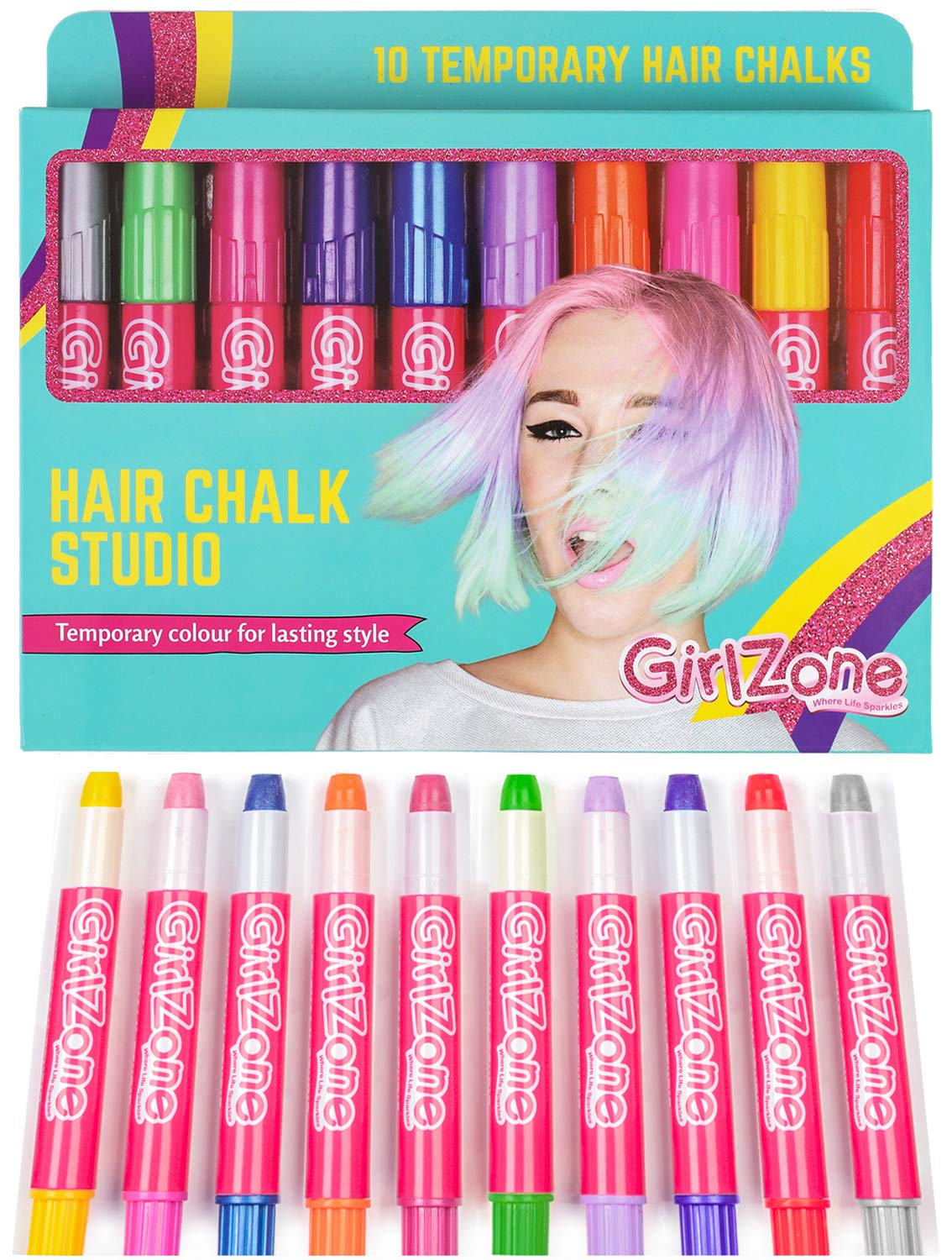 Christmas Gifts For Girls Age 9 10.Hair Chalk Birthday Gifts For Girls 10 Colourful Hair Chalk Pens Temporary Color Presents For Girls Of All Ages