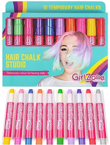 Regalos para Niñas | Tizas para el pelo | 10 Tizas de Color | Lavables | Fácil usar: 10 Colores Metálicos | Hair Chalk for Girls 3 4 5 6 7 8 9 10 11 ...