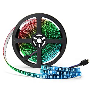 SUPERNIGHT LED Strip Lights, 16.4FT 5M SMD 5050 Waterproof 300LEDs RGB Color Changing Flexible LED Light Strip for Bedroom, TV Back Lighting, Christmas, Valentine's Day (Black PCB)