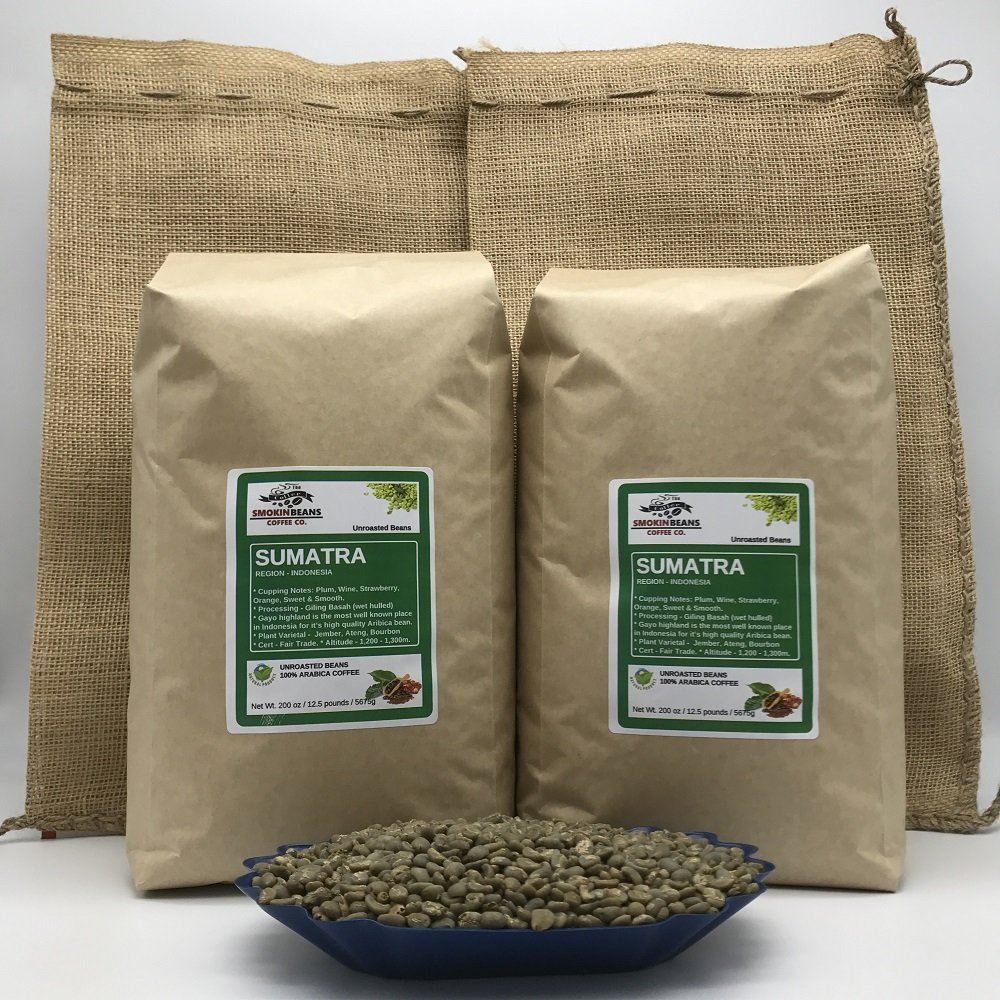 20 LBS – SUMATRA IN A BURLAP BAG- Farm: Burni Bies, Grade 1, 1600m, Notes: Spice, Earthy Cedar Wood, Peppers, Dark Fruit, Specialty-Grade Green Unroasted Whole Coffee Beans, for Home Coffee Roasters