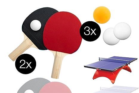 Juego de tenis de mesa con 2 x Tenis de Mesa chläger Raqueta con 3 x mesa pelotas ...