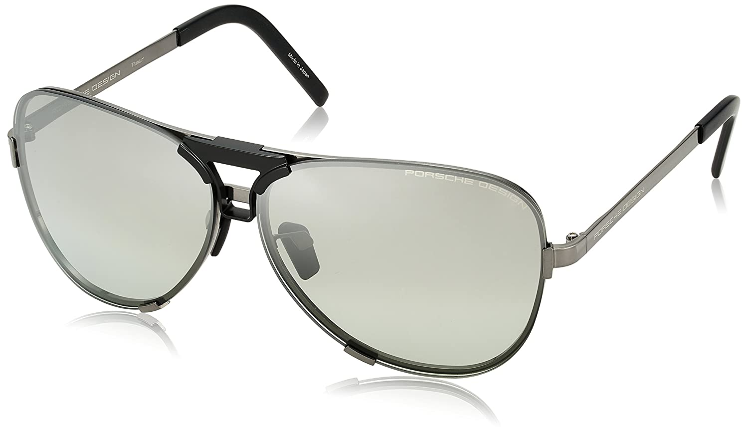 7158a86f14fe Amazon.com  Porsche Design P8678 A Dark Gun Aviator Mens Sunglasses  Interchangeable Lens  Clothing