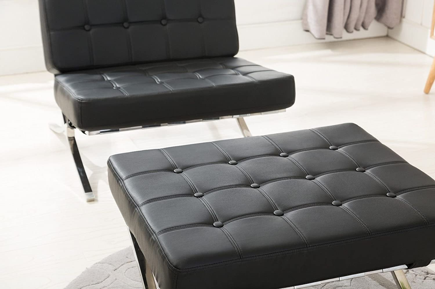 Stupendous Mcombo Balcony Barcelona Style Lounge Chair And Ottoman Faux Leather High Density Soft Foam Cushionsseamless Visible Corners Black One Ottoman Machost Co Dining Chair Design Ideas Machostcouk