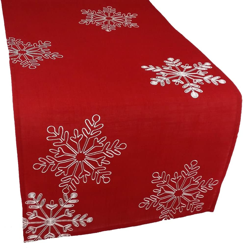 Xia Home Fashions Snowy Noel Embroidered Christmas Table Runner with White Snowflakes, 15 by 108-Inch