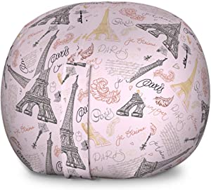 Ambesonne Paris Storage Toy Bag Chair, Eiffel Tower Sketch with Hand Lettering City Name Keys Quill Love Capital, Stuffed Animal Organizer Washable Bag, Large Size, Pastel Pink