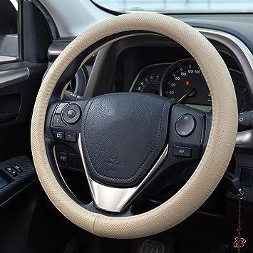 Fms Leder Lenkradhülle 37 38 Cm Universal Lenkradabdeckung Auto Lenkradbezug Langlebig Atmungsaktiv Anti Rutsch Geruchlos Beige Auto