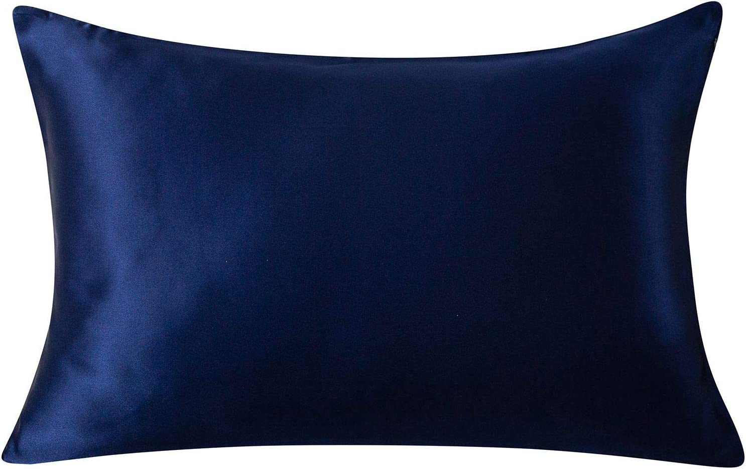 SLPBABY 100% Natural Pure Silk Pillowcase for Hair and Skin, Both Side 19 Momme Silk, Luxury Smooth Satin Pillowcase Cover with Hidden Zipper (Queen, Navy Blue)