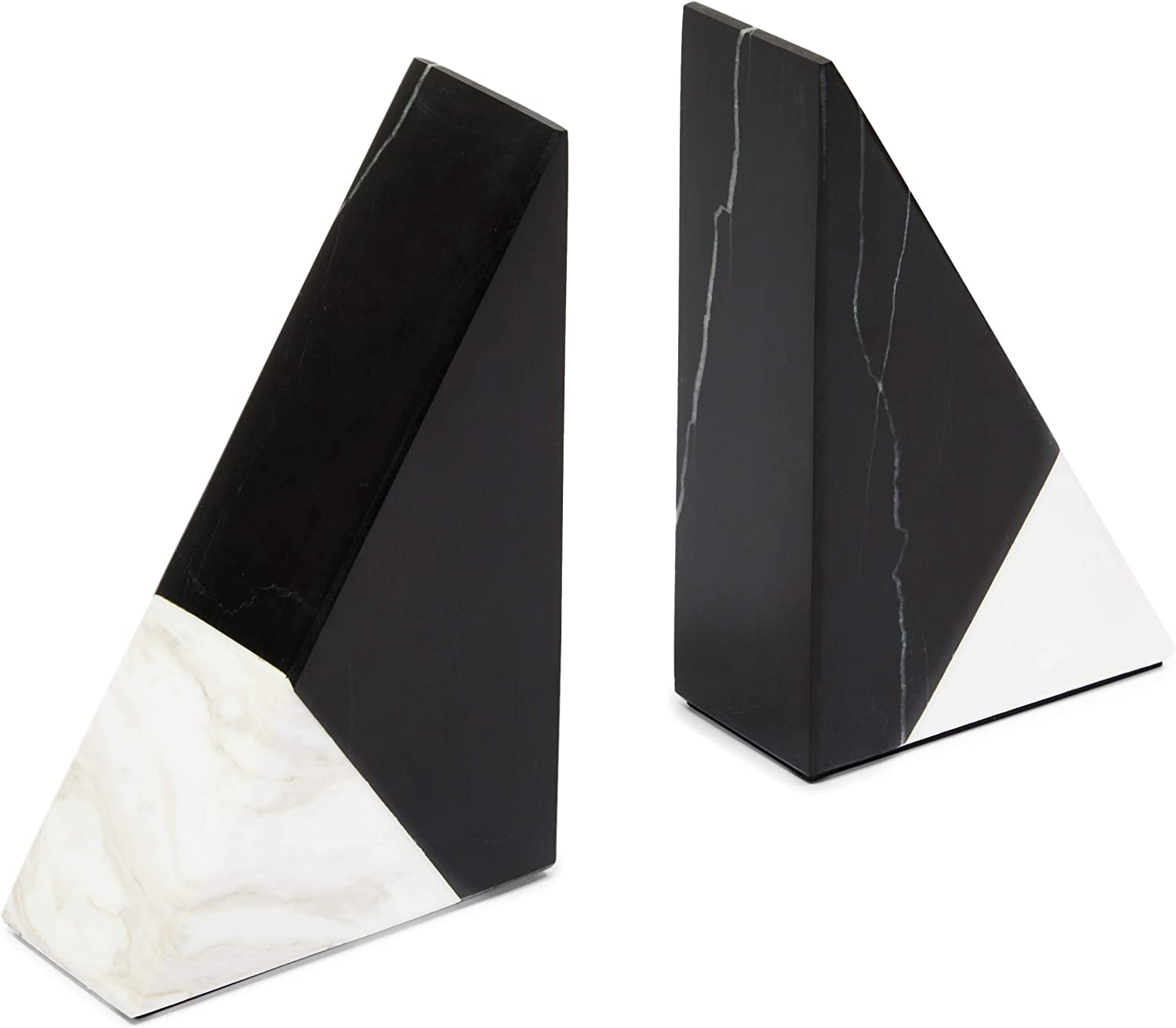 Black Marble Decorative Bookends for Shelves (3.9 x 6.3 x 2 in, 1 Pair)