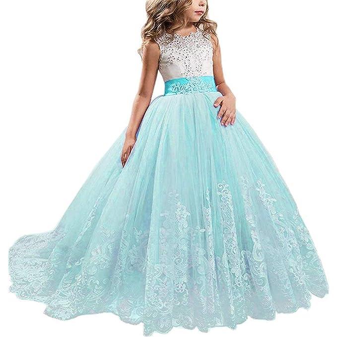 Amazon.com: TTYAOVO Vestido de princesa bordado para niñas ...