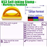 KS3 Literacy Feedback & Marking Stamp - Large Format, Self-Inking. Inc Grammar, Presentation, PEEL, WWW, EBI, Target Setting (Violet)