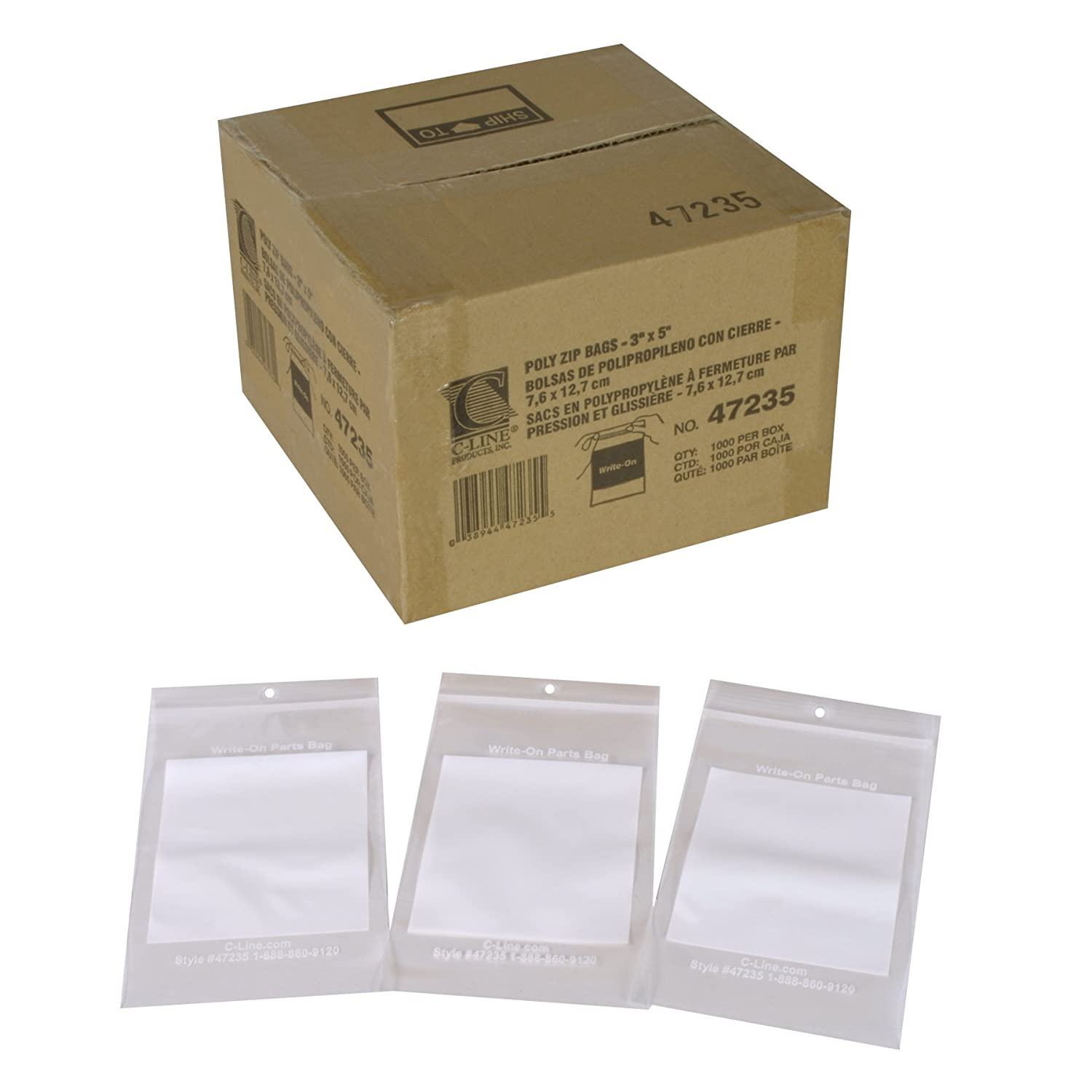 C-Line Write-On Reclosable Small Parts Storage Bags, 3 x 5 Inches, 1000 per Box (47235)