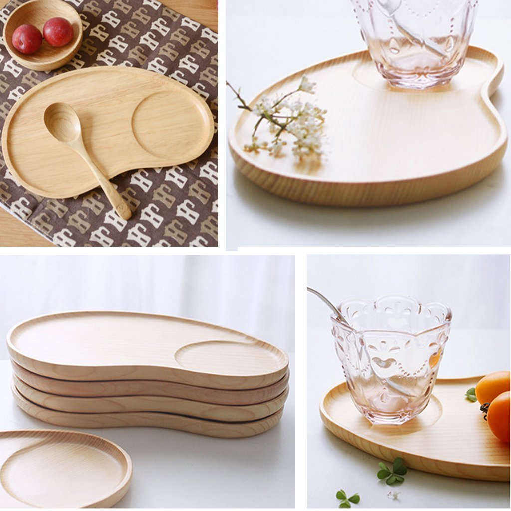 Set of 2 Fancy Wooden Platter Small Serving Tray Kids Plate for Appetizer, Cheese, Salad, Dessert Divided Dish by Ren Handcraft (Image #3)